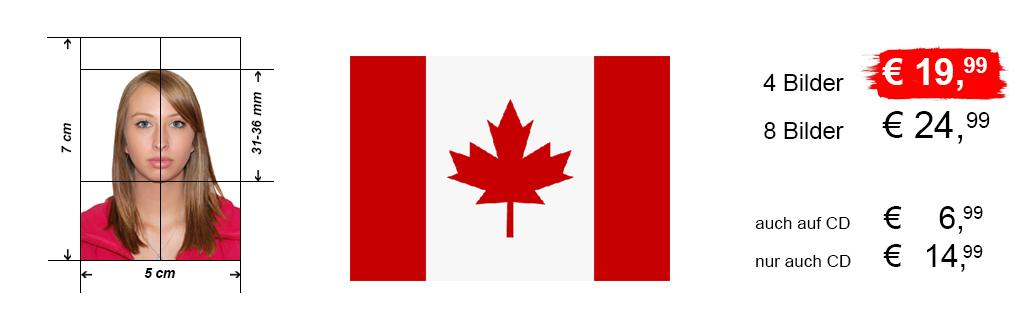 Passbilder für Visum Kanada